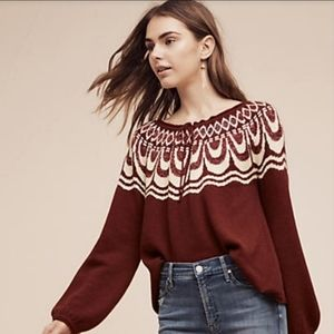 ANTHROPOLOGIE FIELD FLOWER MAROON BIB SWEATER